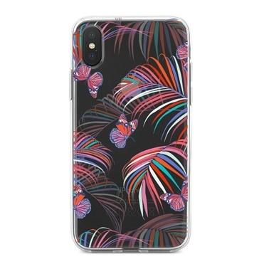 Lopard iPhone Xs Max Kılıf Silikon Arka Koruma Kapak Daldaki Kelebekler Desenli Renkli